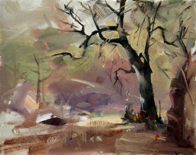 """Oaks in a Park --- Sold"" original fine art by Qiang Huang"