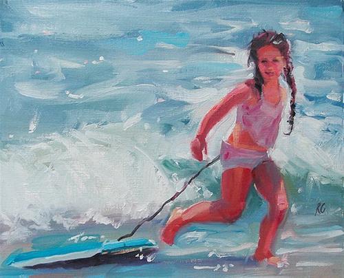 """Beach Girl"" original fine art by Robin Cheers"