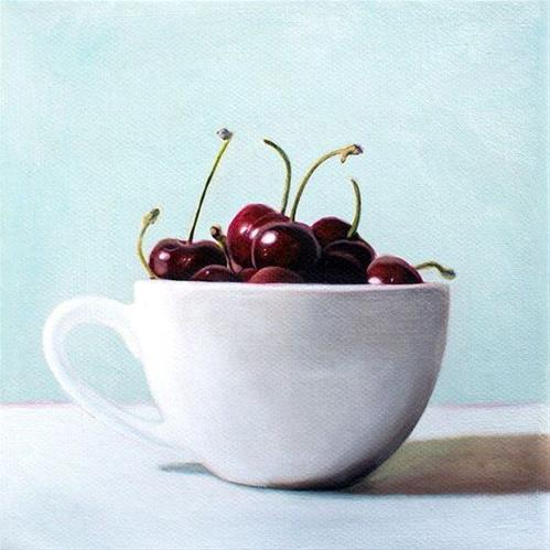 """Cup of Cherries"" original fine art by Lauren Pretorius"
