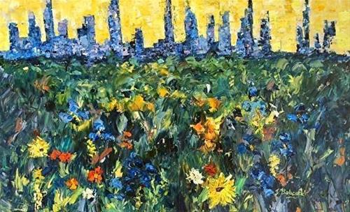 """Palette Knife Denver Skyline Cityscape Painting Spirit of the City II by Colorado Impressionist Ju"" original fine art by Judith Babcock"