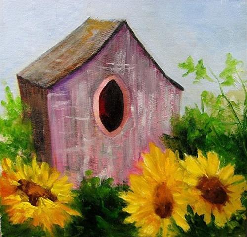 """Birdhouse and Sunflowers"" original fine art by Barbara Haviland"