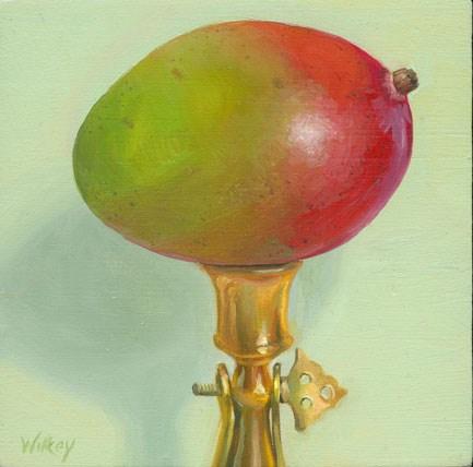 """Mango on brass candlestick"" original fine art by Jean Wilkey"