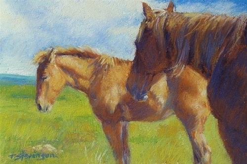 """Mare and Foal Relaxed"" original fine art by Trish Stevenson"