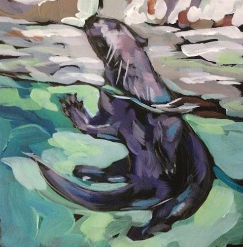 """Otter Pose"" original fine art by Kat Corrigan"