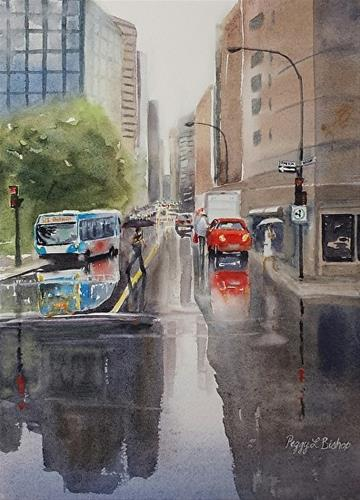 """Montreal Bus"" original fine art by Peggy Bishop"