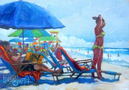 """Yellow Bikini Girl on Beach"" original fine art by Linda K Smith"
