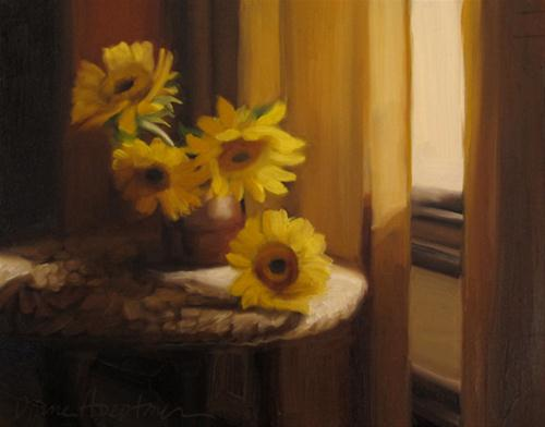 """Wide Eye original oil painting still life flowers"" original fine art by Diane Hoeptner"
