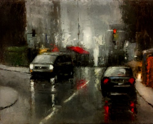 """Rainy Streets"" original fine art by Bob Kimball"