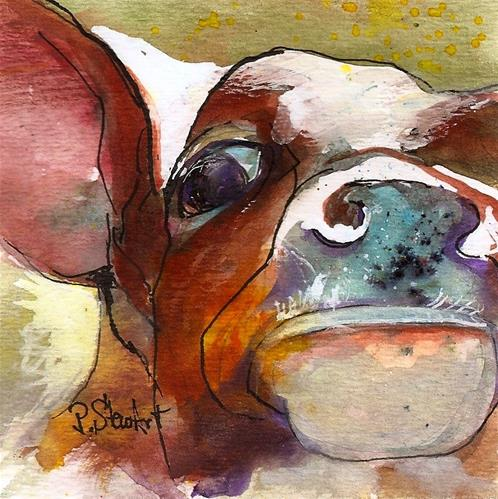 """4x4 Moo Cow Up Close In Your Face Watercolor & Ink, Penny StewArt"" original fine art by Penny Lee StewArt"