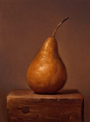 """Bosc Pear on a Wood Block"" original fine art by Abbey Ryan"