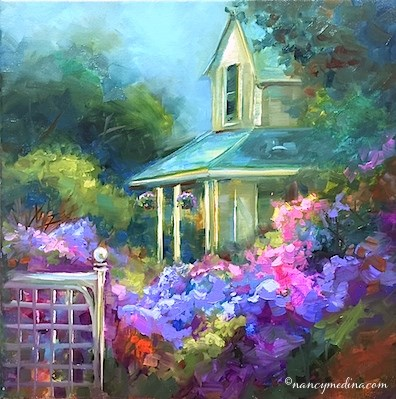 """Hidden Hydrangea Garden"" original fine art by Nancy Medina"