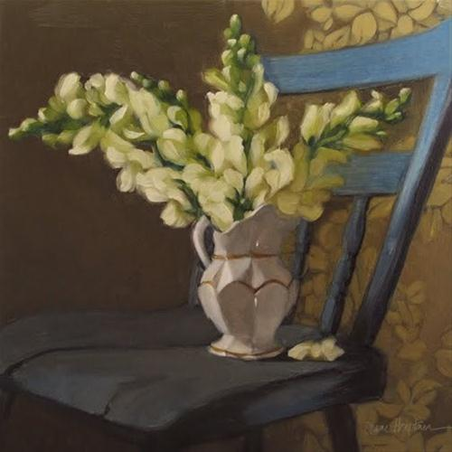 """Blue Chair Snapdragons flower bouquet painting"" original fine art by Diane Hoeptner"