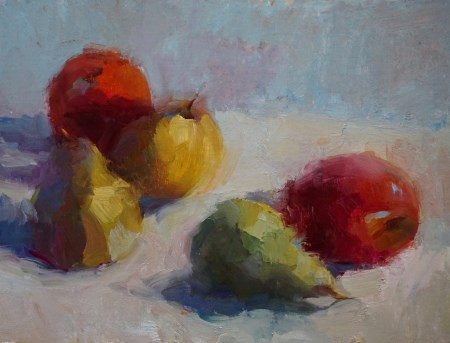 """Pears & Apples"" original fine art by Carol Myer"