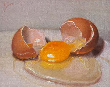 """Cracked Egg  (+ sharing the concept of One Hour / One Painting)"" original fine art by Abbey Ryan"