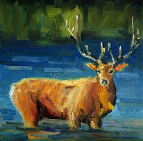 """FALL ELK ANIMAL ART BY DIANE WHITEHEAD FINE ART"" original fine art by Diane Whitehead"