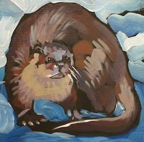 """Humpty River Otter"" original fine art by Kat Corrigan"