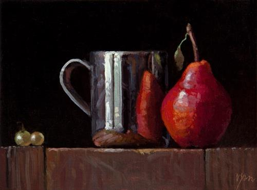 """Live Demo: Silver Cup, Red Pear, & Two Muscat Grapes"" original fine art by Abbey Ryan"