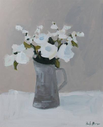 """White Flowers in Pewter"" original fine art by Pamela Munger"