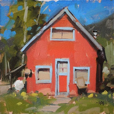 """Pink House 1"" original fine art by Carol Marine"