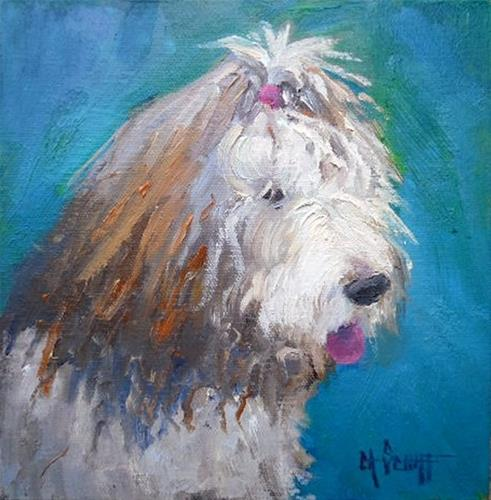 """Old English Sheepdog Painting, Pet Portrait, Daily Painting, Small Oil Painting, 8x8x1.5 Oil by Car"" original fine art by Carol Schiff"