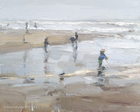 """Seascape winter 5 Children shoreline grey day fun (available) Zeegezicht"" original fine art by Roos Schuring"