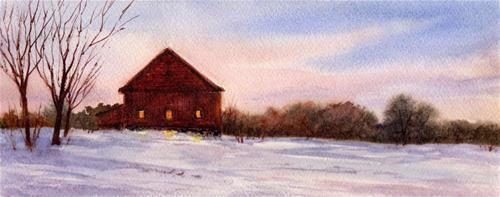 """Barn Lights"" original fine art by Vikki Bouffard"
