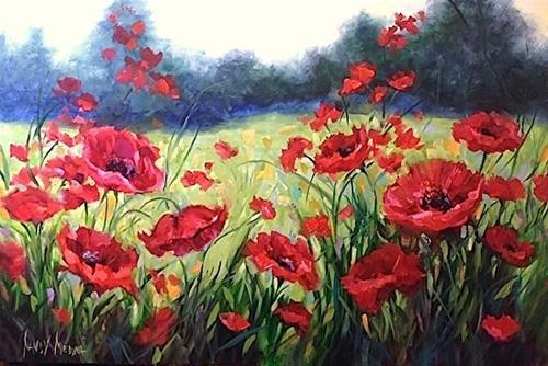 """Shall We Dance Poppies"" original fine art by Nancy Medina"
