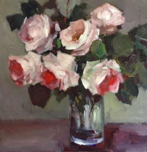 """Roses in a glass"" original fine art by Parastoo Ganjei"