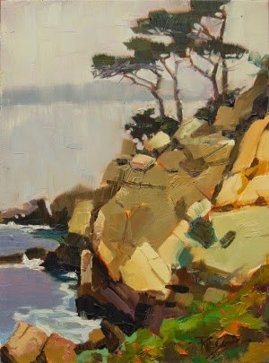 """Point Lobos Cypress  California, coastal, plein air. oil painting by Robin Weiss"" original fine art by Robin Weiss"