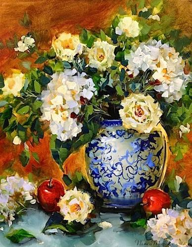 """""""SOLD ~ Day 29 ~ Apples and Hydrangeas and a Tennessee Workshop by Nancy Medina"""" original fine art by Nancy Medina"""