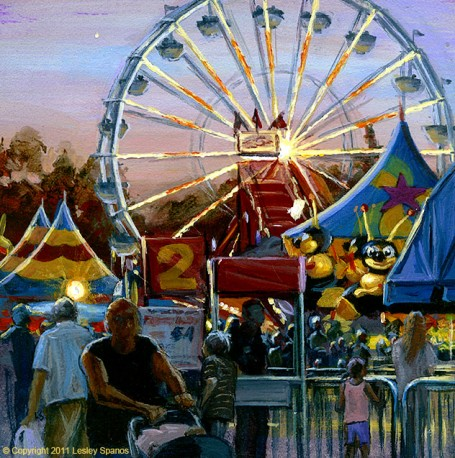 """Dusk on the Midway"" original fine art by Lesley Spanos"