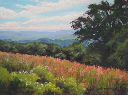 """Overlooking the Fields and Opening Reception at RiverWinds Gallery"" original fine art by Jamie Williams Grossman"