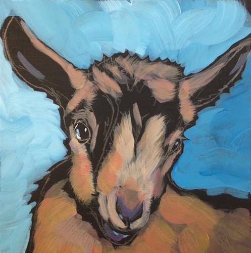 """March 15 Office Baby Goat"" original fine art by Kat Corrigan"