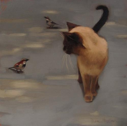 """Siamese and Sparrow"" original fine art by Diane Hoeptner"