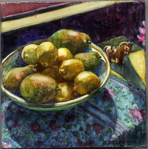 """Watercolor: Pears & Lemons in the Sun - & Weekend with the Masters photos"" original fine art by Belinda Del Pesco"