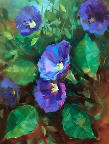 """Painting Online and Blue Mystery Morning Glories - Nancy Medina Art Classes and Videos"" original fine art by Nancy Medina"