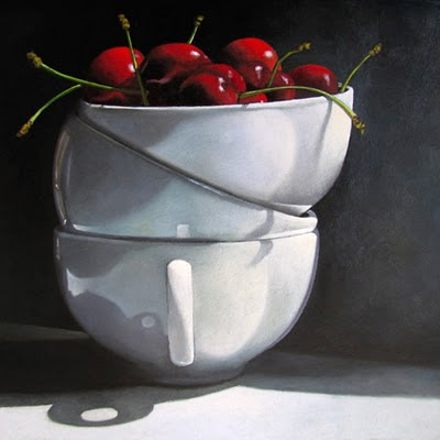 """Cups and Cherries  6x6"" original fine art by M Collier"