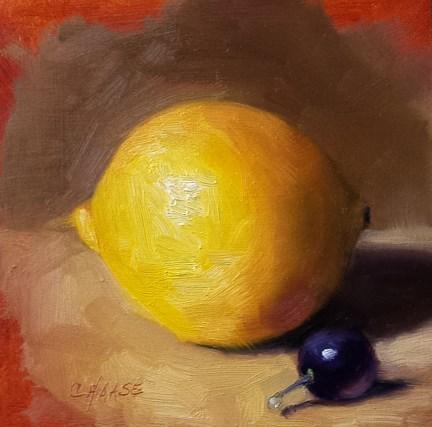 """Lemon and Purple Grape"" original fine art by Cindy Haase"