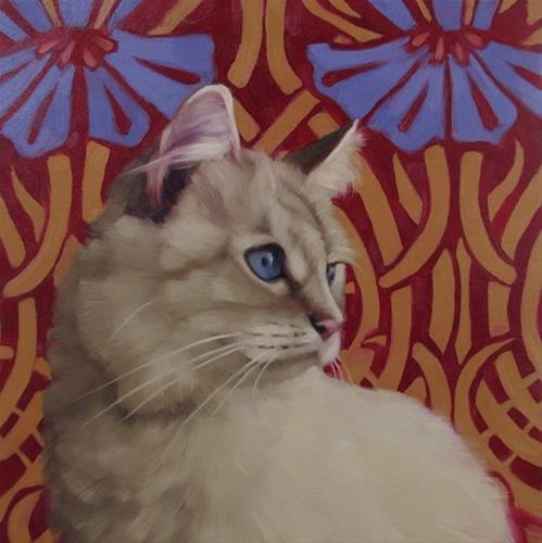 """Sapphire a new cat painting by Hoeptner"" original fine art by Diane Hoeptner"
