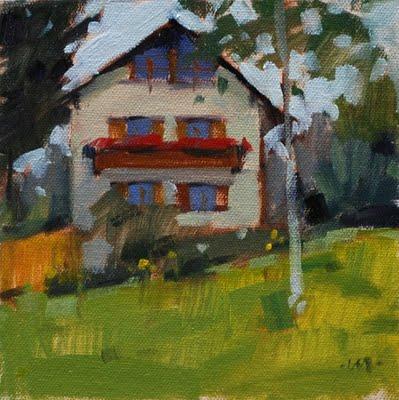 """German House"" original fine art by Carol Marine"