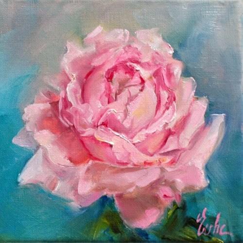 """""""La rose rose"""" original fine art by Evelyne Heimburger Evhe"""