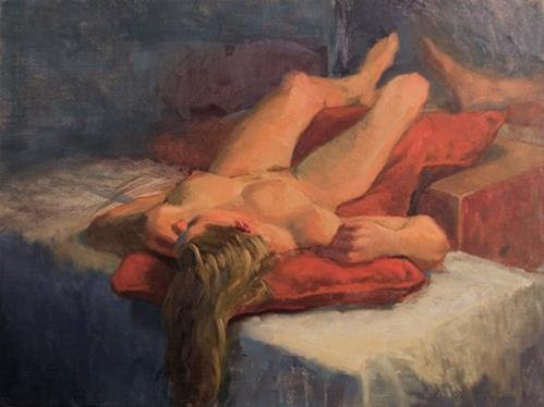 """Reclining Nude"" original fine art by Johan Derycke"