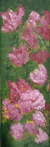 """Pink Flowers on Olive I"" original fine art by Donna Vieth"