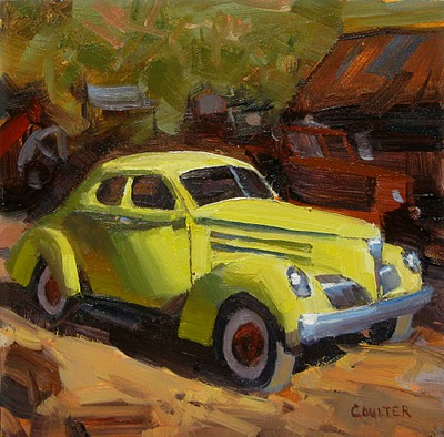 """YELLOW CAR"" original fine art by James Coulter"