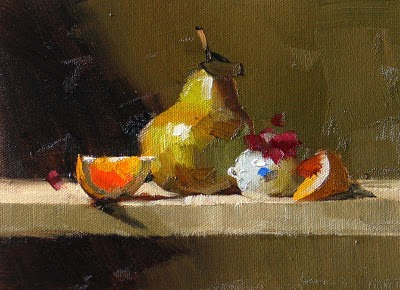 """Orange Pear --- Sold"" original fine art by Qiang Huang"