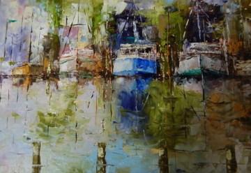 """Abstract Harbor Scene"" original fine art by Deborah Harold"