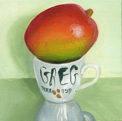 """Mango on Gregg's cafe meod cup"" original fine art by Jean Wilkey"