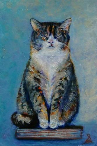 """3251 - Kitty on a Book"" original fine art by Sea Dean"