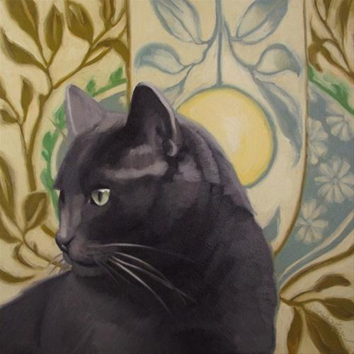 """Handsome Coco cat on pattern painting Hoeptner"" original fine art by Diane Hoeptner"