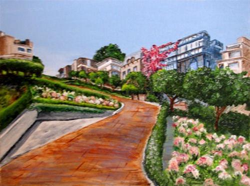 """Lombard Street"" original fine art by Nan Johnson"